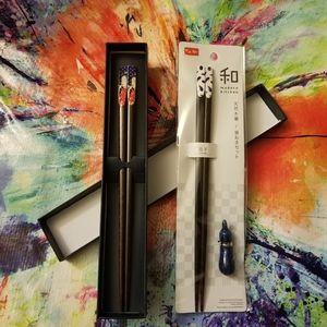 3 Piece Set - 2 Pair Wooden Chopsticks & 1 Rest